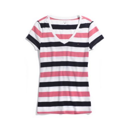 Image for SHORT SLEEVE MULTI STRIPE V-NECK TEE from Tommy Hilfiger USA