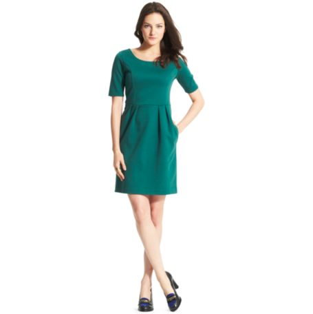 Image for ELBOW-SLEEVE PLEATED DRESS from Tommy Hilfiger USA