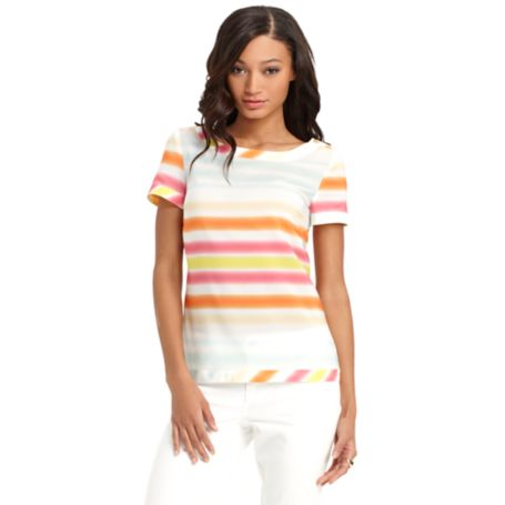 Image for BLURRY STRIPE SHORT SLEEVE BLOUSE from Tommy Hilfiger USA
