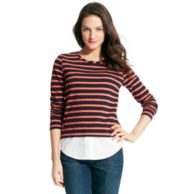 STRIPED KNIT TO WOVEN TOP $39.99