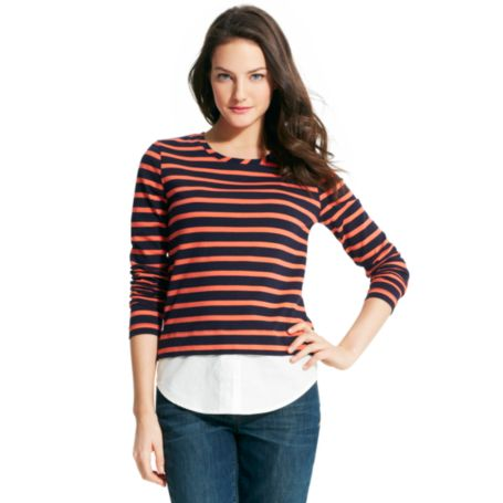 Image for STRIPED KNIT TO WOVEN TOP from Tommy Hilfiger USA