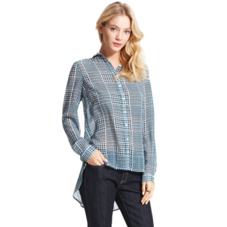 Image for PLAID PRINT LONG SLEEVE BLOUSE from Tommy Hilfiger USA