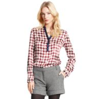 HOUNDSTOOTH LONG SLEEVE BLOUSE $129.00