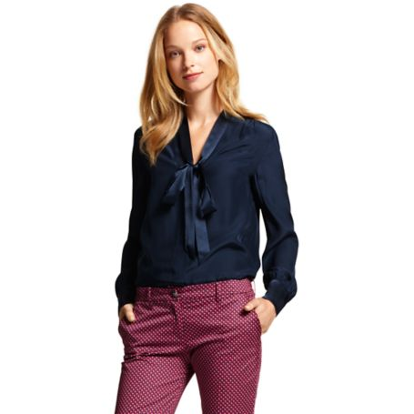 Image for SOLID SOFT BOW BLOUSE from Tommy Hilfiger USA