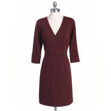 Image for WRAP DRESS WITH LEATHER TRIM from Tommy Hilfiger USA