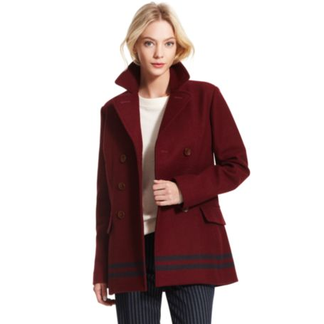 Image for BLANKET BORDER STRIPE PEACOAT from Tommy Hilfiger USA