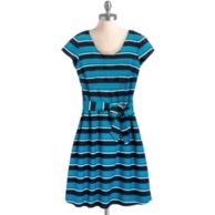 SHORT SLEEVE BOLD STRIPE DRESS WITH SELF TIE $54.99