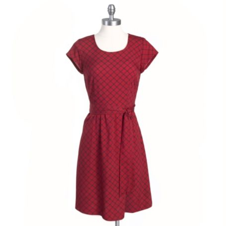 Image for SHORT SLEEVE SELF TIE WINDOWPANE DRESS from Tommy Hilfiger USA