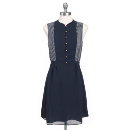 Image for BUTTON FRONT PRINTED HOUNDSTOOTH DRESS from Tommy Hilfiger USA