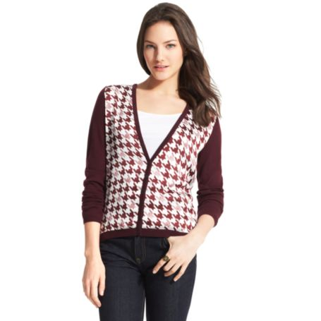 Image for V-NECK HOUNDSTOOTH CARDIGAN from Tommy Hilfiger USA