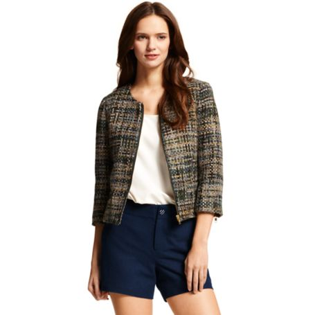 Image for BOUCLE ZIPPER CROPPED JACKET from Tommy Hilfiger USA