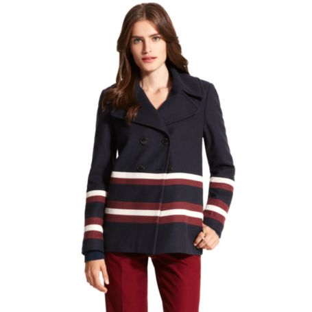 Image for COLORBLOCK STRIPE WOOL PEACOAT from Tommy Hilfiger USA