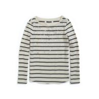 EMBELLISHED STRIPED FLEECE PULLLOVER $69.99