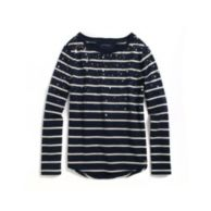 EMBELLISHED STRIPED FLEECE PULLLOVER $79.50