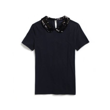 Image for SEQUIN PETER PAN COLLAR KNIT TOP from Tommy Hilfiger USA