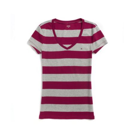 Image for SHORT SLEEVE RUGBY STRIPE V-NECK TEE from Tommy Hilfiger USA