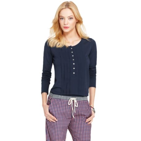 Image for CHIFFON RUFFLE KNIT TOP from Tommy Hilfiger USA