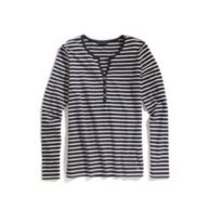 STRIPE 3 BUTTON SPLIT NECK TEE $34.99