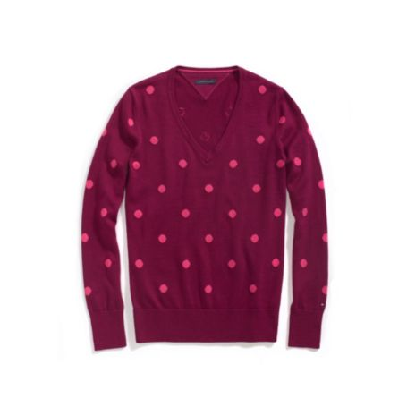 Image for POLKA DOT LONG SLEEVE SWEATER from Tommy Hilfiger USA