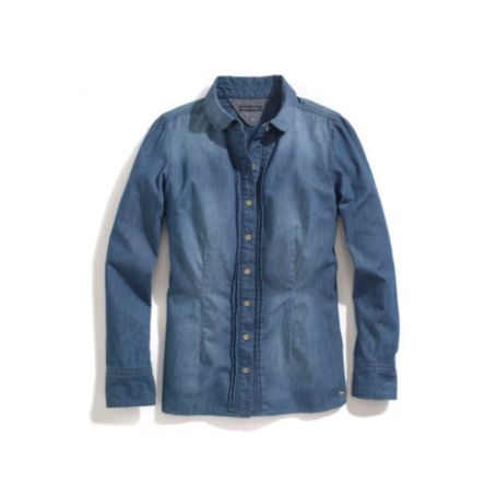 Image for DENIM PIN-TUCK PINDOT SHIRT from Tommy Hilfiger USA