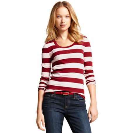 Image for LONG SLEEVE SCOOP NECK STRIPE  TEE from Tommy Hilfiger USA
