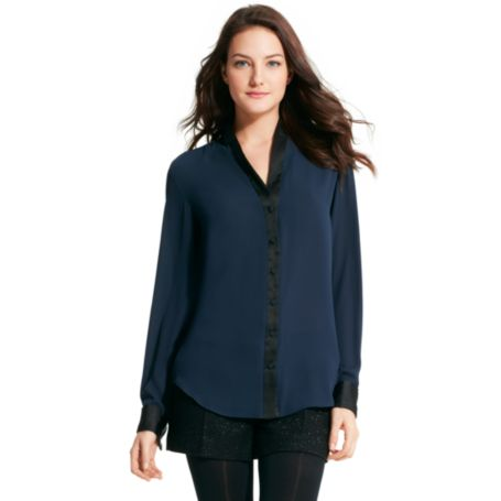 Image for SOLID SHEER LONG SLEEVE BLOUSE from Tommy Hilfiger USA