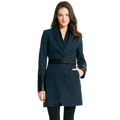 Image for LONG COAT WITH LEATHER CUFFS from Tommy Hilfiger USA