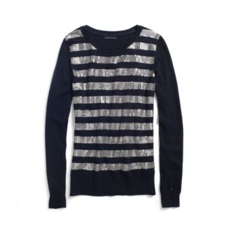 Image for SEQUIN STRIPE SWEATER from Tommy Hilfiger USA