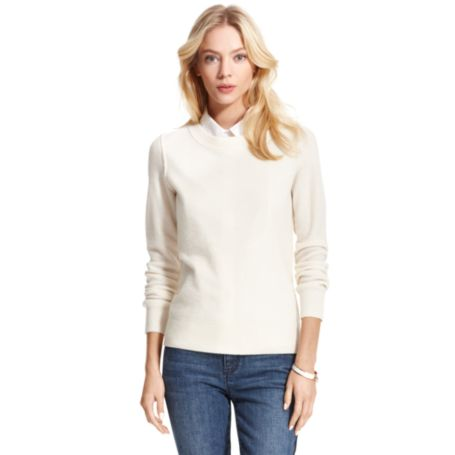 Image for CASHMERE POINTELLE CREW NECK SWEATER from Tommy Hilfiger USA
