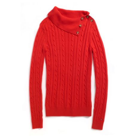 Image for SPLITNECK CABLE SWEATER from Tommy Hilfiger USA