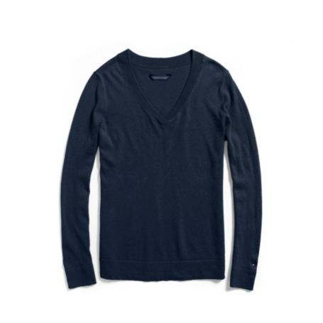 Image for SOLID LONG SLEEVE V-NECK SWEATER from Tommy Hilfiger USA