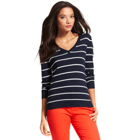 Image for STRIPE V-NECK SWEATER from Tommy Hilfiger USA