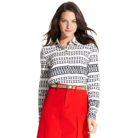 Image for LONG SLEEVE STRIPE BLOUSE from Tommy Hilfiger USA