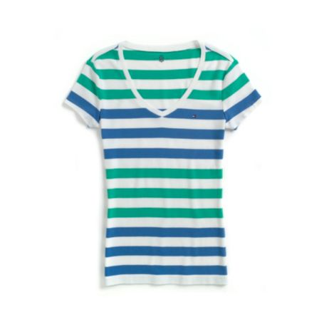 Image for MULTI STRIPE V-NECK TEE from Tommy Hilfiger USA