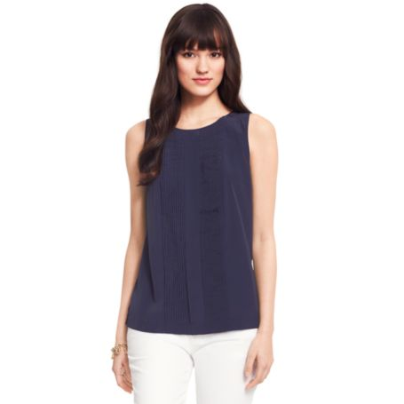 Image for SLEEVELESS TUXEDO BLOUSE from Tommy Hilfiger USA