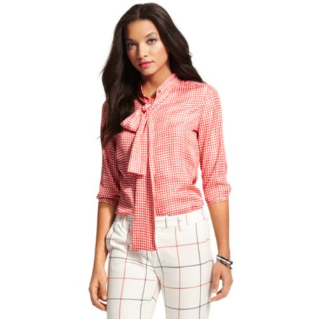 Image for BOW TIE CHECK BLOUSE from Tommy Hilfiger USA