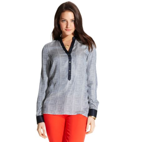 Image for CHECK PRINTED BLOUSE from Tommy Hilfiger USA