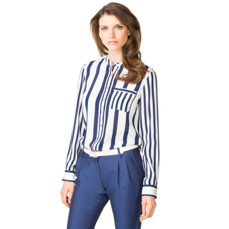 Image for STRIPE POCKET LONG SLEEVE BLOUSE from Tommy Hilfiger USA