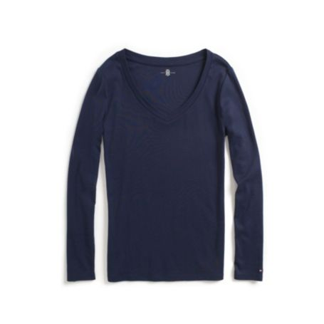 Image for PERFECT LONG SLEEVE SOLID TEE from Tommy Hilfiger USA