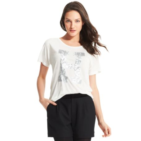 Image for H SEQUIN SCOOP NECK TEE from Tommy Hilfiger USA