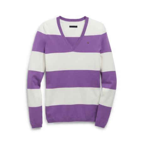 Image for V-NECK RUGBY STRIPE SWEATER from Tommy Hilfiger USA