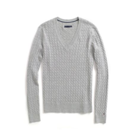 Image for SOLID CABLE V-NECK SWEATER from Tommy Hilfiger USA