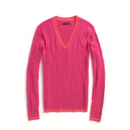 Image for TIPPED CABLE V-NECK SWEATER from Tommy Hilfiger USA