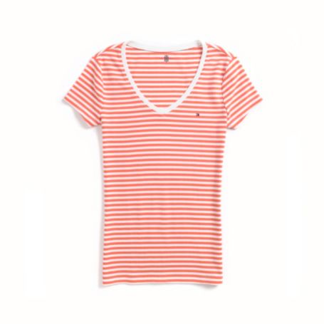 Image for HORIZONTAL STRIPE V-NECK TEE from Tommy Hilfiger USA