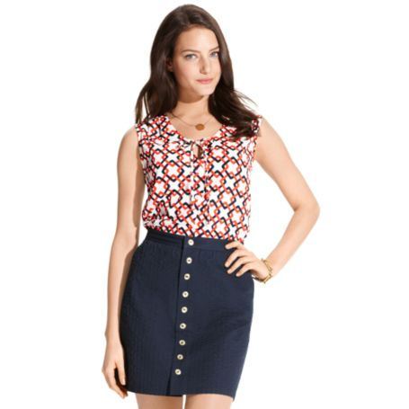 Image for CHAIN LINK TIE NECK BLOUSE from Tommy Hilfiger USA