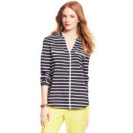 Y-NECK PIPED STRIPE BLOUSE $99.00