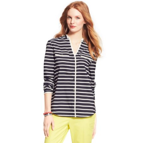 Image for Y-NECK PIPED STRIPE BLOUSE from Tommy Hilfiger USA