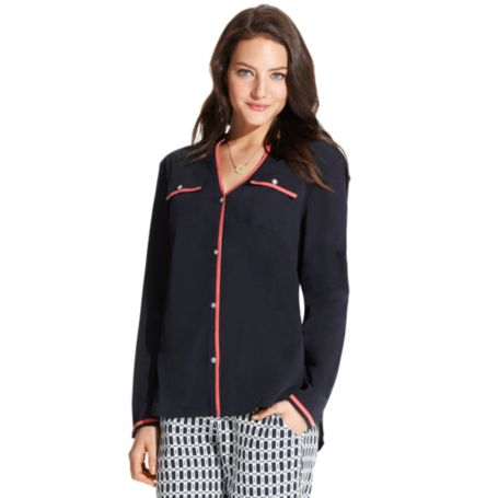 Image for Y-NECK PIPED BLOUSE from Tommy Hilfiger USA