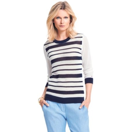 Image for SUMMER WEIGHT STRIPE CREWNECK SWEATER from Tommy Hilfiger USA
