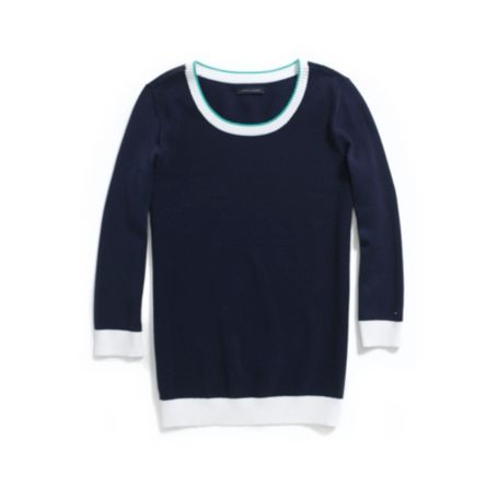 Image for TEXTURED SCOOP NECK SWEATER from Tommy Hilfiger USA